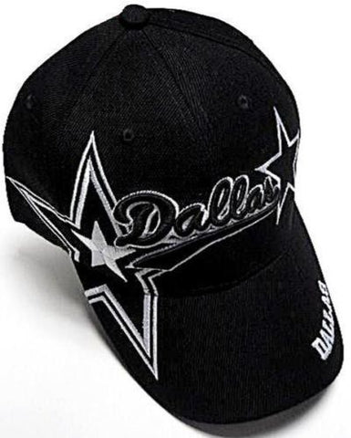 Dallas Cowboys Black Hat Cap Script Visor Embroidered Signature Double Star Logo