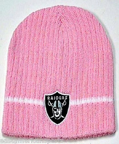Oakland Raiders NFL Pink Knit Hat Cap Breast Cancer Beanie Womens Girls Winter