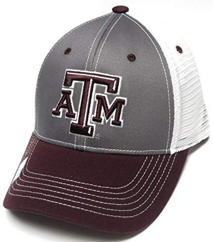 Captivating Headwear Texas A&M Aggies NCAA Maroon Two Tone Gray Hat Cap White Mesh Adult Men's Adjustable