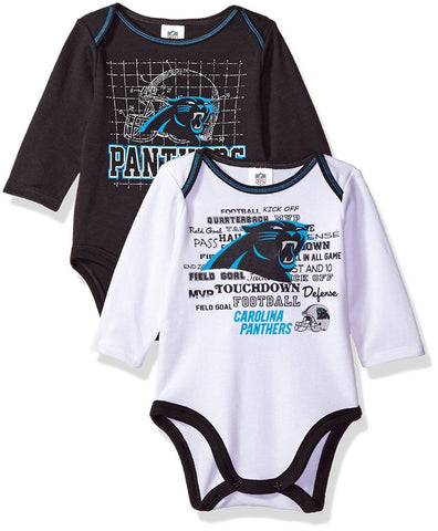Carolina Panthers NFL Long Sleeve Baby Infant Creeper Bodysuit 2 Pack 6-12M
