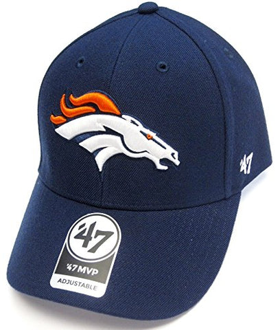 Denver Broncos NFL Basic Navy Blue 47 Brand MVP Adult Adjustable Hat Cap
