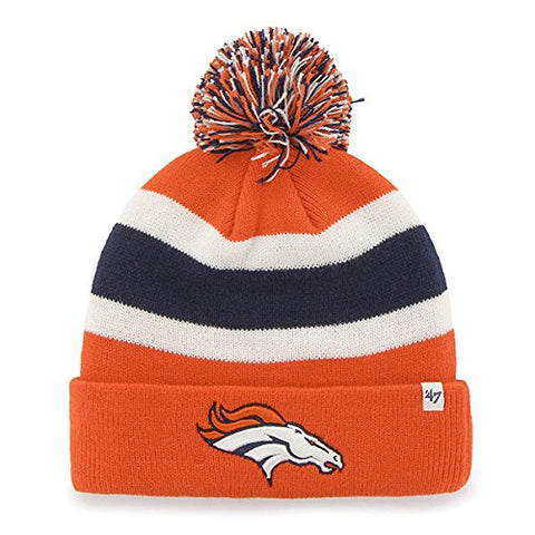 Denver Broncos NFL 47 Brand Breakaway Orange Knit Pom Hat Cap Beanie Adult
