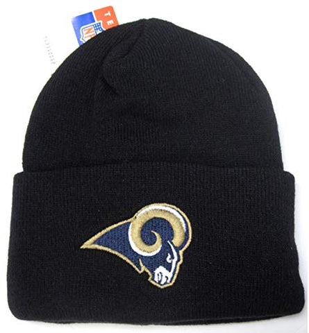 NFL Team Apparel Los Angeles Rams Black Cuffed Skull Cap Knit Hat Winter Beanie Adult