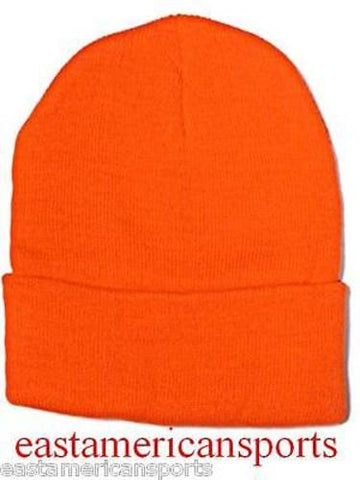 Fluorescent Orange Hunting Hat Cuffed Winter Ski Skull Cap Beanie Snow Camo