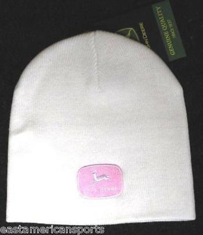 John Deere Hat Cap White Pink Logo Womens Girls No Cuff Winter Knit Snow Beanie