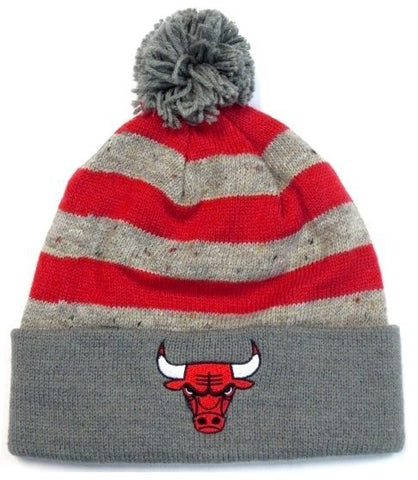 Chicago Bulls NBA Mitchell & Ness Speckled Oatmeal Pom Knit Hat Cap Beanie