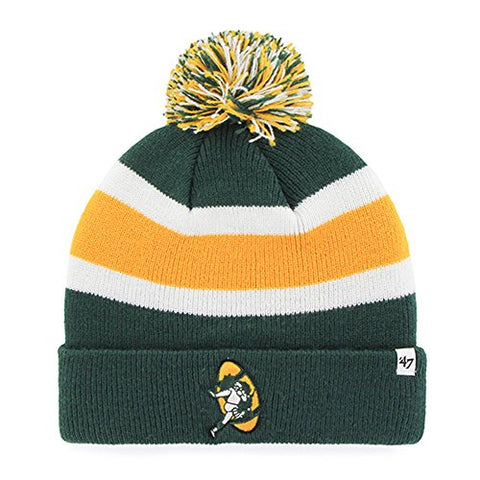 Green Bay Packers Vintage Logo Breakaway Cuffed Pom Knit Beanie Hat by 47 Brand