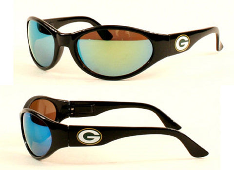 Green Bay Packers NFL Black Wrap Sport Sunglasses