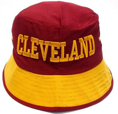 Cleveland Cavaliers Red Bucket Golf Fishing Sun Hat Cap Embroidered Text Logo