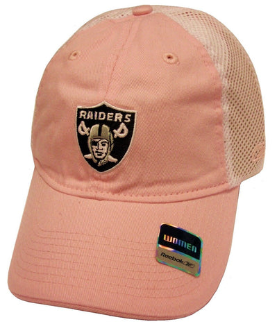 Oakland Raiders NFL Reebok Pastel Pink Slouch Relaxed Hat Cap White Mesh Women's