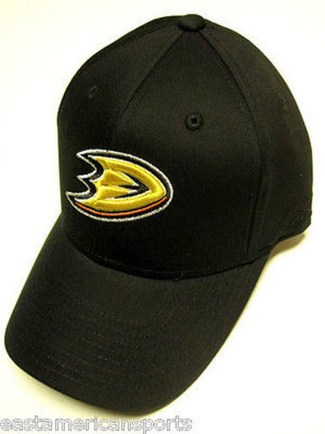 Anaheim Mighty Ducks NHL Reebok Black w/ Logo Hat Cap Structured OSFA Adjustable