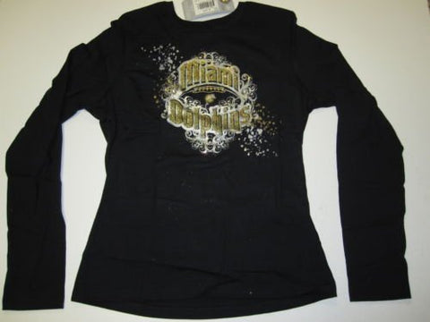 Miami Dolphins Reebok Gold Glitter Black Long Sleeve Shirt Womens Large L