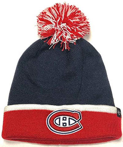 Montreal Canadiens NHL '47 Two Tone Navy Blue Baraka Pom Knit Hat Cap Winter Beanie