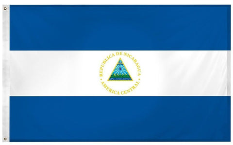 Nicaragua Nicaraguan 3' x 5' Flag w Grommets to Hang Pride Country Soccer Banner