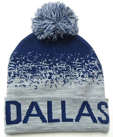 Dallas City Navy Blue / Gray Classic POM Ball Knit Hat Cap Winter Ski Beanie