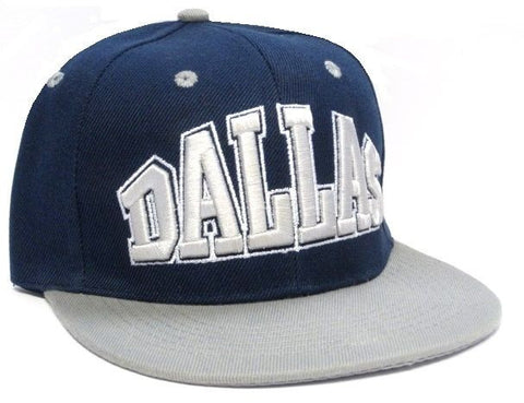 Dallas Cowboys Stitched Blue Two Tone Flat Brim Visor Hat Cap Text Logo Snapback