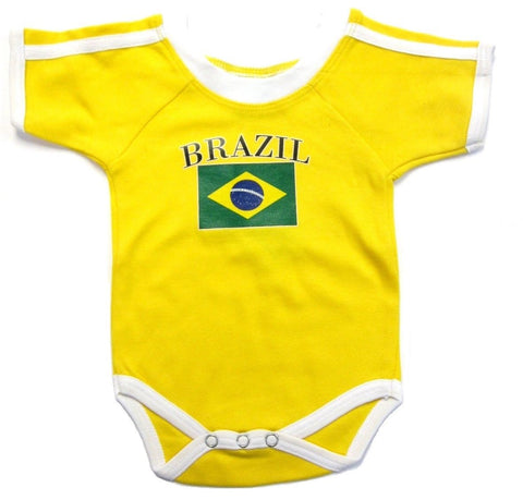 Brasil Brazil Yellow Soccer Jersey Baby Bodysuit Infant Creeper 3-6-9-12-18-24 M