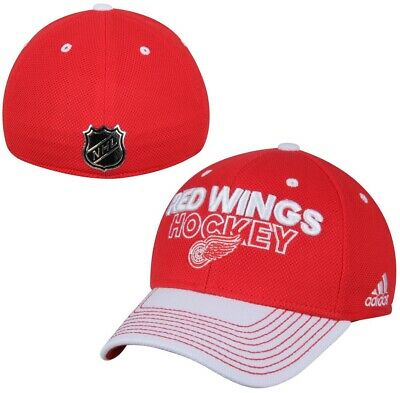Detroit Red Wings NHL Adidas Red Two Tone Locker Room Hat Cap Men's Flex S/M