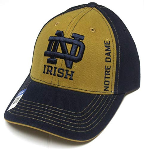 Captivating Headwear Notre Dame Fighting Irish NCAA Gold Front Vertical Text Navy Blue Hat Cap Adult Men's Adjustable