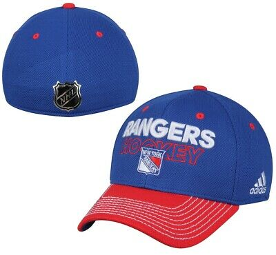 New York Rangers NHL Adidas Blue Two Tone Locker Room Hat Cap Men's Flex Fit S/M
