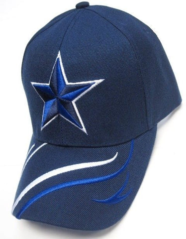 Dallas Cowboys Blue Hat Cap Embroidered Blue Star Logo Curvy Lines Brim