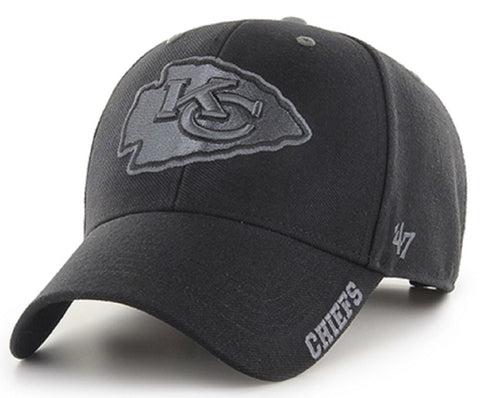 Kansas City Chiefs NFL '47 MVP Black Defrost Tonal Logo Hat Cap Adult Men's Adjustable