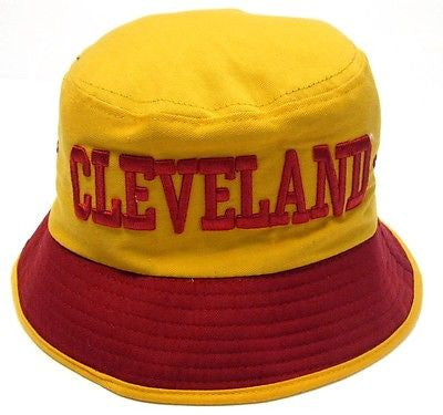 Cleveland Cavaliers Yellow Bucket Golf Fishing Sun Hat Cap Embroidered Text Logo