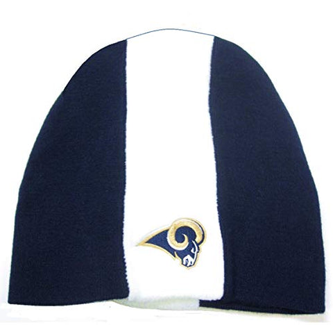 NFL Team Apparel Los Angeles Rams Blue White Skunk Stripe Skull Cap Knit Hat Winter Beanie Adult