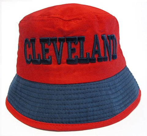 Cleveland City Red Bucket Golf Fishing Sun Hat Cap Embroidered Text Logo