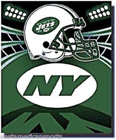 New York Jets NFL 50 x 60 Green Fleece Throw Blanket NY Helmet Logo Bed Bedding