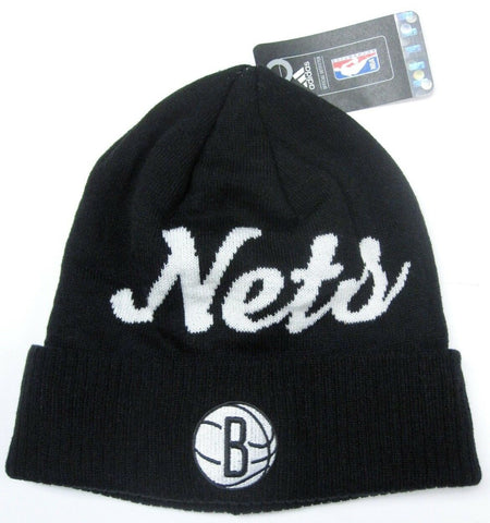 Brooklyn Nets NBA Adidas Black Cuffed Cursive Knit Hat Cap Winter Beanie Adult