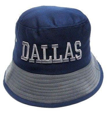 Dallas Cowboys Blue Bucket Golf Fishing Sun Hat Cap Embroidered Text Logo