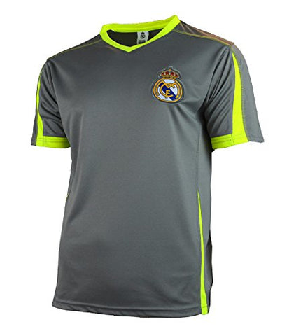 Real Madrid Soccer Jersey Adult Training Performance Polyester -Shirts - Home -Away (Grey TY25, S)