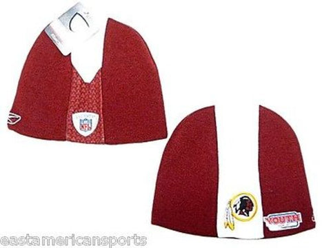 Washington Redskins NFL YOUTH Reebok Sideline Skunk Hat Cap Knit Red Beanie