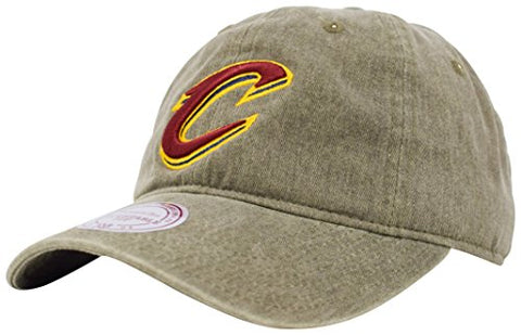 Cleveland Cavaliers NBA Mitchell & Ness Blast Wash Tan Khaki Slouch Relaxed Hat Cap Adult Men's Adjustable Strapback