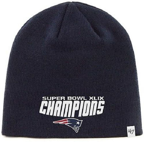 New England Patriots NFL Blue Knit Hat Cap Super Bowl Champions XLIX 49 Beanie