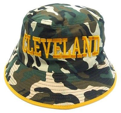 Cleveland Cavaliers Camo Bucket Golf Fishing Sun Hat Cap Embroidered Text Logo