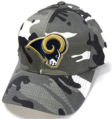 NFL Team Apparel Los Angeles Rams Gray White Woodland Camo Hat Cap Adult Men's Adjustable