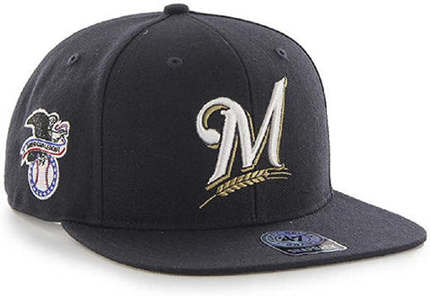 Milwaukee Brewers MLB '47 Navy Sure Shot Flat Bill Hat Cap Snapback