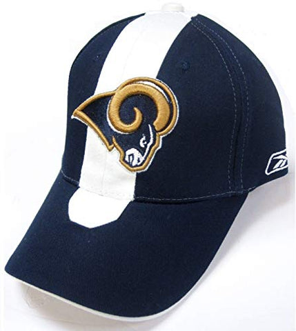 NFL Team Apparel Los Angeles Rams Navy Blue Skunk Stripe Hat Cap Adult Men's Adjustable