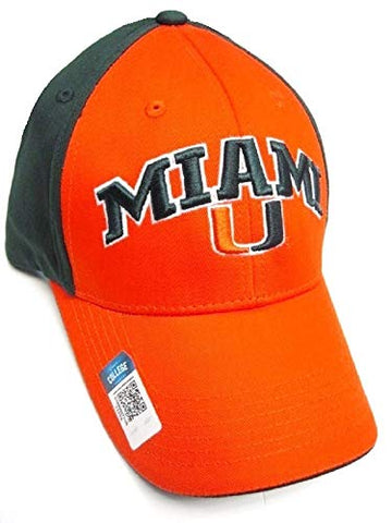 Captivating Headwear Miami Hurricanes NCAA Two Tone Orange & Green Hat Cap Adult Men's Adjustable