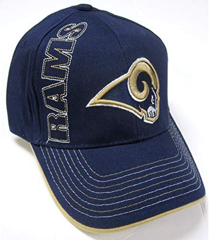 NFL Team Apparel Los Angeles Rams Navy Blue Vert Text Cap Adult Men's Adjustable