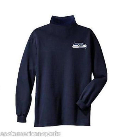 Seattle Seahawks NFL Full Turtleneck Long Sleeve Shirt Navy Blue 2XL XXL TALL