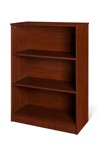 mahogany 3 tier shelf bookcase with adjustable shelves