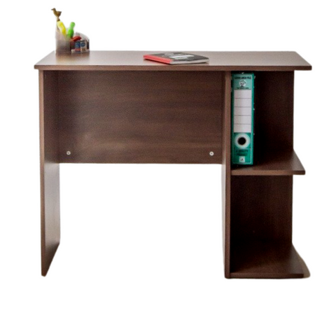 STUDY DESK, 2 TIER SIDE SHELF - FRENCH WALNUT