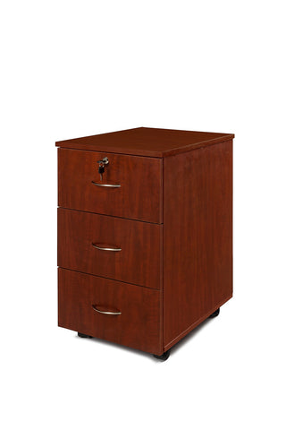 Mahogany mobile office pedestal with 3 drawers, top middle lock, and four wheels underneath.