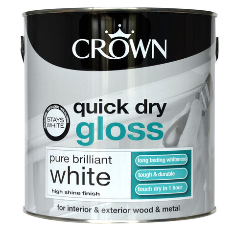 Crown Pure Brilliant White Quick Dry Gloss Paint 750ml - Flying Dutchman Stores