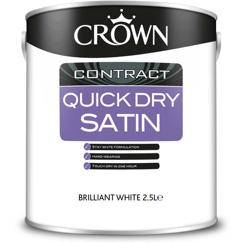 Crown Contract Quick Dry Satin Brilliant White Paint - 2.5L - Flying Dutchman Stores