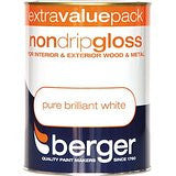 Berger 1.25l Non Drip Gloss - Pure Brilliant White White - Flying Dutchman Stores