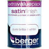 Berger Satin Paint 1.25L White - Flying Dutchman Stores